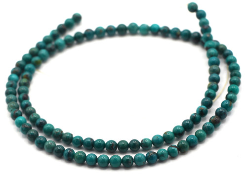 """15.5"""" 3-3.5mm Natural Hubei Turquoise Round Beads"""