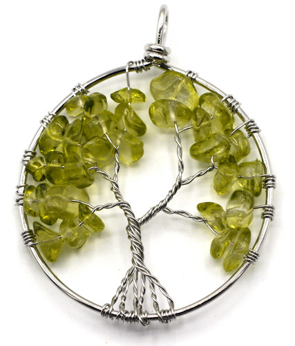 Approx 60x50mm Peridot Tree of Life Pendant, Antique Silver