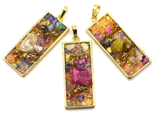 1pc 42x16mm Rectangular Druzy Agate Embellished Pendants, Golden Multi