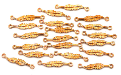 20pc 25mm Feather Links, Rose Gold Pewter