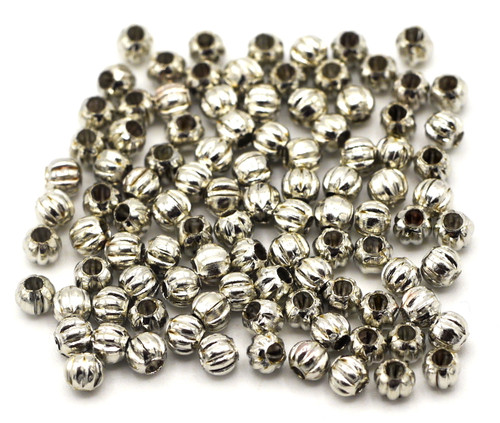 100pc  3mm Corrugated Round Spacer Bead, Antique Silvertone