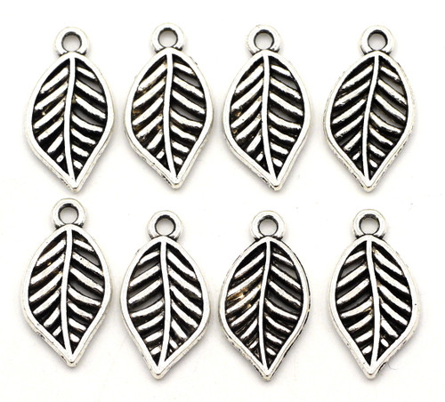 8pc 19x10mm Leaf Charms, Antique Silver