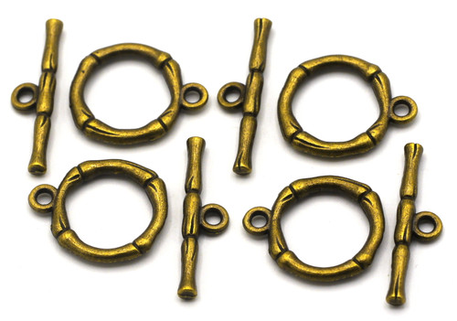 4 Sets 20x26mm Bamboo Toggle Clasps, Antique Bronze
