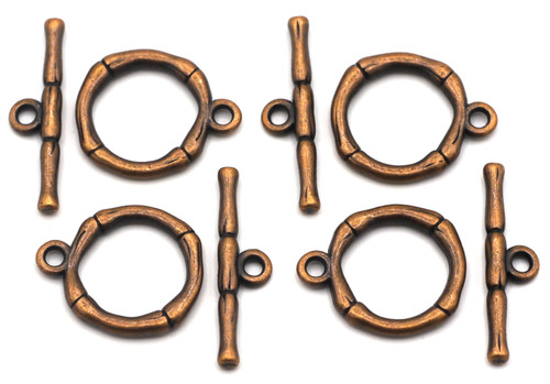 4 Sets 20x26mm Bamboo Toggle Clasps, Antique Copper