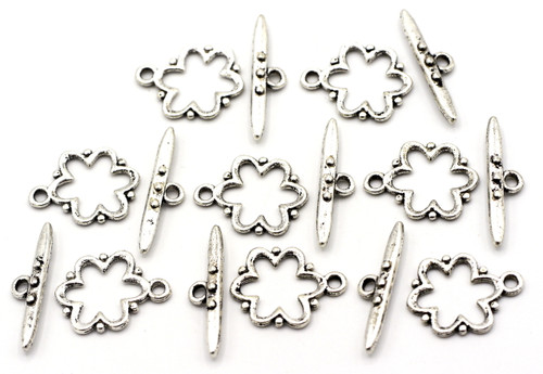 8 Sets 19x24mm Dotted Flower Toggle Clasp, Antique Silver
