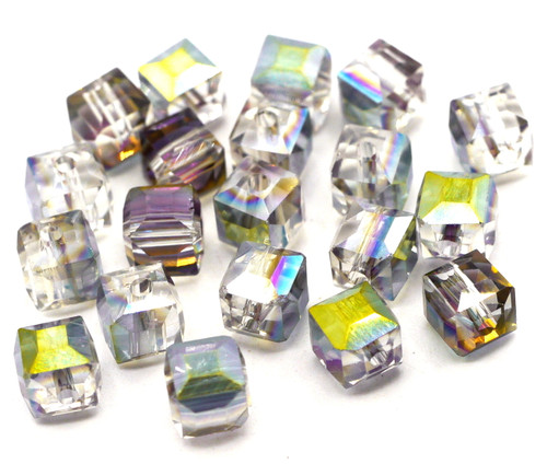 20pc 6mm Crystal Cube Beads, Crystal Half-Vitrail