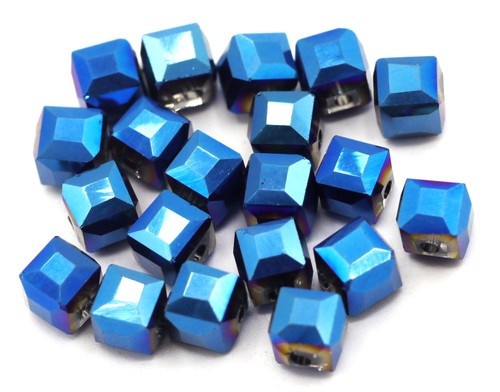 20pc 6mm Crystal Cube Beads, Metallic Blue