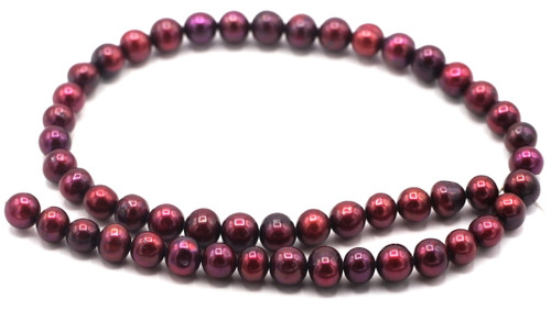 """SAVE 80%-- 15"""" Strand Approx 8-9mm Freshwater Pearl Semi-Round Beads, Dark Cranberry"""