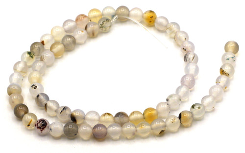 "15"" Strand 6mm Round Natural Agate Beads"