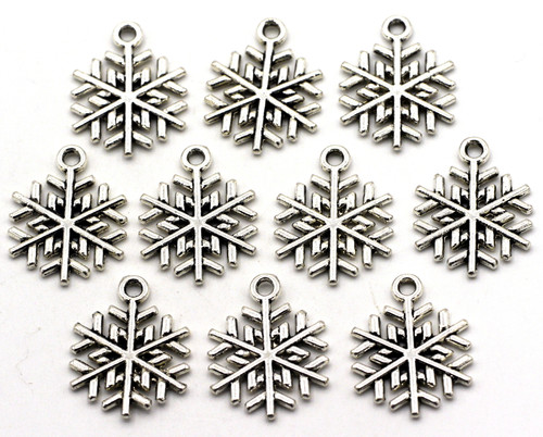 10pc 20x15.5mm Snowflake Drops, Antique Silver