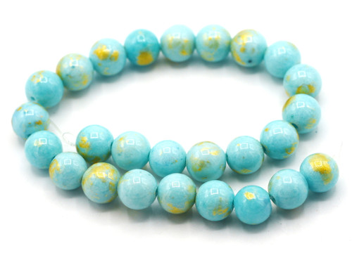 """Approx 7.5"""" Strand 8mm Marble Beads with Gold Accents, Light Turquoise"""