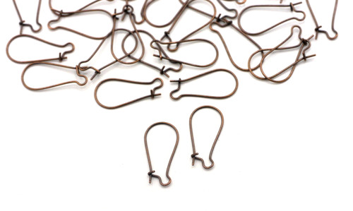 20pc 25x12mm Nickel-Free Steel Kidney Earwires, Antique Copper