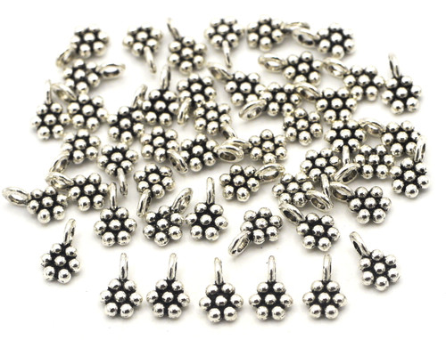 10 Grams 9x6mm Dotted Flower Drops, Antique Silver (Approx 40pcs)