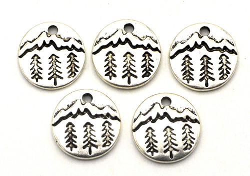 5pc 11mm Tree & Mountain Charms, Antique Silver