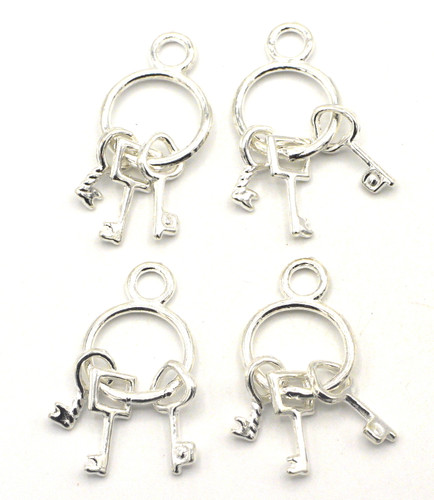 4pc 27x12mm Keychain Charms, Bright Silver