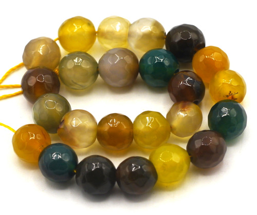 """7"""" Strand 8mm Faceted Agate Beads, Harvest Mix"""