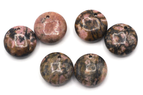 2pc Approx 18mm Top-Drilled Rhodonite Round Pendants