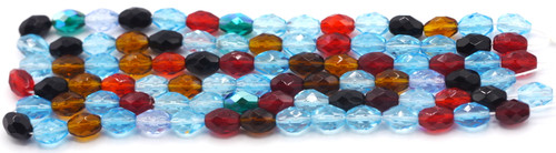 30pc Strand 7x9mm Czech Faceted Fire Polished Oval Beads, Multi Mix