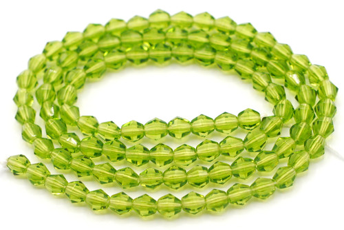 100pc 5mm Czech Fire-Polished Bicone Beads, Peridot