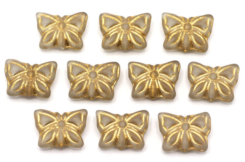 10pc 15x12mm Czech Pressed Glass Butterfly Beads, Crystal w/Gold Inlay