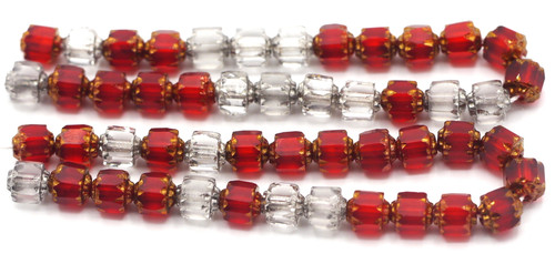 25pc 5mm Czech Fire Polished Cathedral Beads, Ruby/Crystal Mix