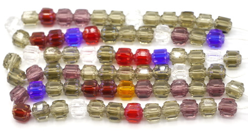 25pc 6mm Czech Fire Polished Cathedral Beads, Multi Mix