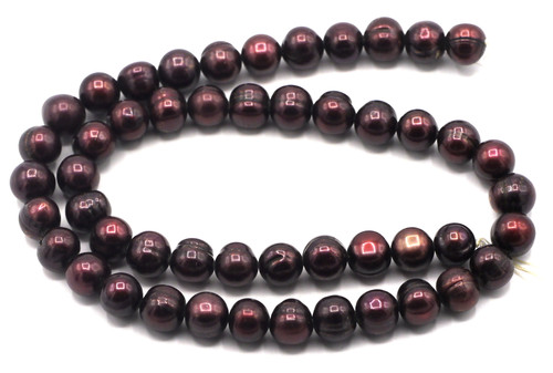 "SAVE 80%-- 15"" Strand Approx 8-9mm Freshwater Pearl Semi-Round Beads, Deep Garnet"