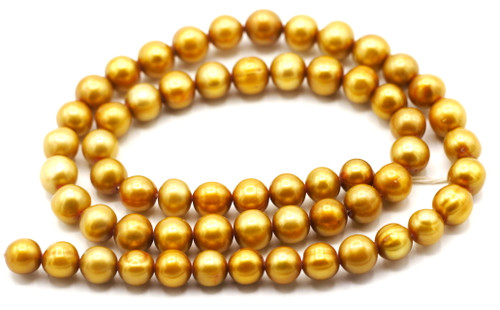 "SAVE 80%-- 15"" Strand Approx 7-8mm Freshwater Pearl Semi-Round Beads, Golden Bronze"