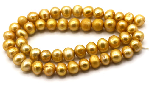 "SAVE 80%-- 15"" Strand Approx 7-8mm Freshwater Pearl Semi-Round Beads, Golden Sun"