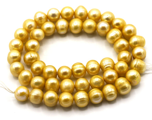 "SAVE 80%-- 15"" Strand Approx 8-9mm Freshwater Pearl Semi-Round Beads, Sunshine"