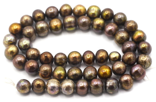 """SAVE 80%-- 15"""" Strand Approx 7-9mm Freshwater Pearl Semi-Round Beads, Brown Iris"""