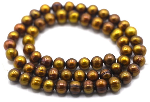 """SAVE 80%-- 15"""" Strand Approx 7-8mm Freshwater Pearl Semi-Round Beads, Bronze"""