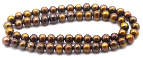 """SAVE 80%-- 15"""" Strand Approx 7-8mm Freshwater Pearl Semi-Round Beads, Cocoa"""
