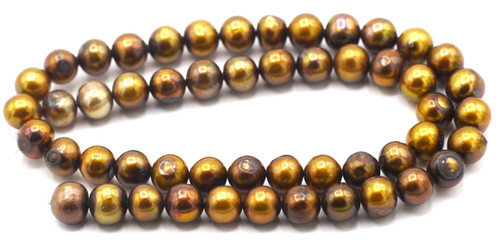 "SAVE 80%-- 15"" Strand Approx 8-9mm Freshwater Pearl Semi-Round Beads, Vintage Bronze"