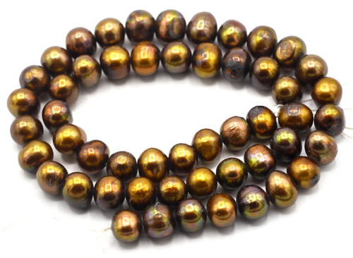 "SAVE 80%-- 15"" Strand Approx 8-9mm Freshwater Pearl Semi-Round Beads, Warm Cocoa"