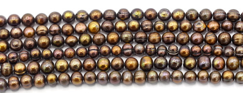 """SAVE 80%-- 15"""" Strand Approx 7-8mm Freshwater Pearl Irregular Semi-Round Beads, Antique Bronze"""