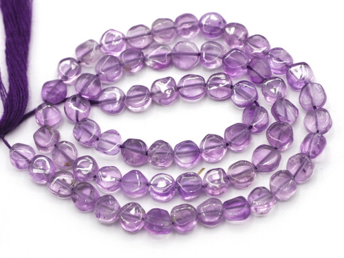 "12"" Strand Approx 4-5mm Amethyst Hand-Cut Coin Beads"