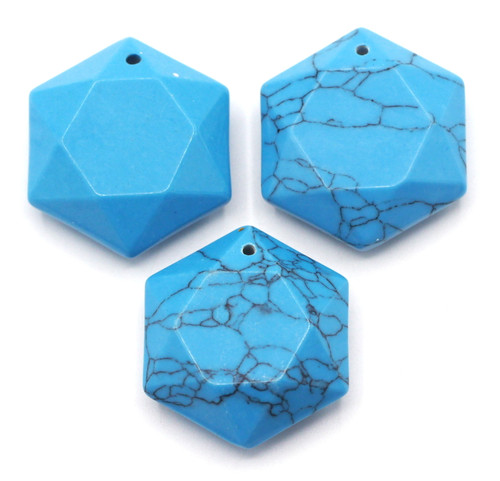 1pc Approx 29mm Faceted Hexagon Pendant, Synthetic Turquoise