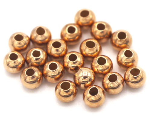 20pc 3mm .925 Sterling Silver Round Beads with Rose Gold Plating