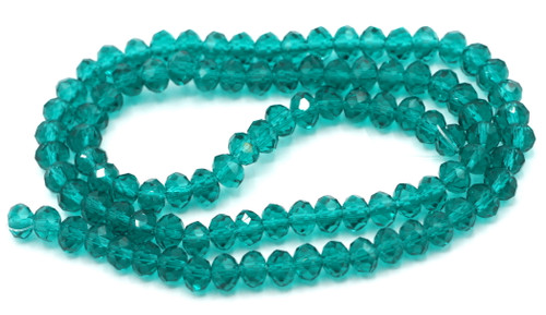 """Approx 16"""" Strand 6x4mm Crystal Rondelle Beads, Teal"""