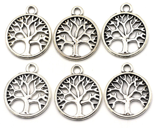 6pc 23x20mm Round Tree Charms, Antique Silver