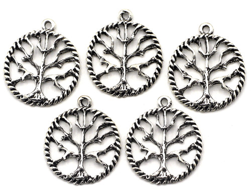 5pc 24x21mm Round Tree Charms, Antique Silver