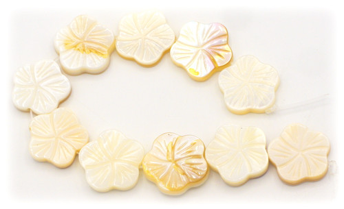 10pc Strand Approx 12mm Carved Shell Flower Beads