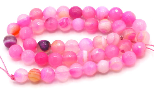 """15"""" Strand 8mm Faceted Round Agate Beads, Pink"""