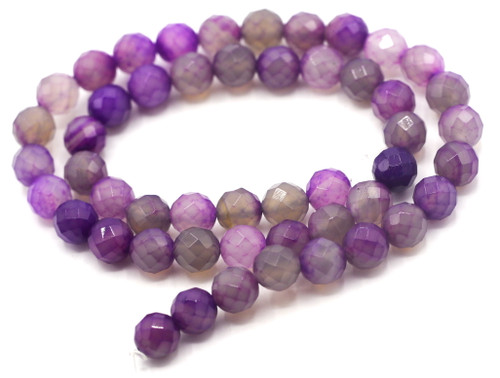 "15"" Strand 8mm Faceted Round Agate Beads, Purple"