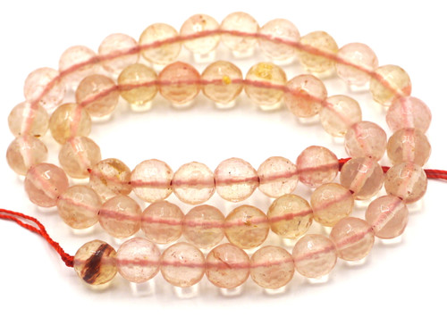 "15"" Strand 8mm Faceted Strawberry ""Quartz"" Glass Beads"