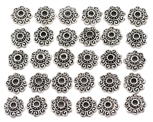 30pc 8mm Scrolled Bead Cap, Antique Silver