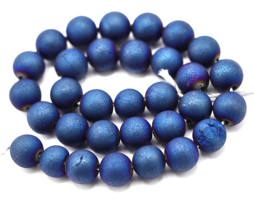 """7.5"""" Strand 6mm Electroplated Agate Round Beads, Blue Iris"""