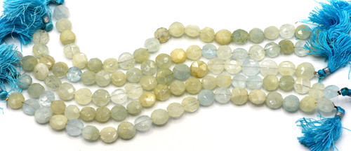 "7"" Strand Approx 9-12mm Aquamarine Faceted Coin Beads"