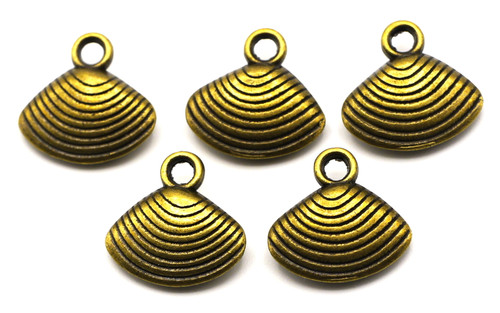 5pc 12x17mm Shell Charms, Antique Brass Finish
